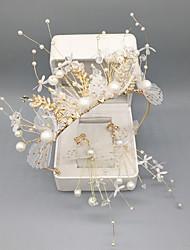 cheap -Bride Handmade Super Fairy Half Crown Crown Headdress Wedding Earrings Sen Set 18th Birthday Female Princess Accessories