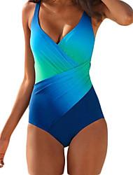 cheap -Women's One Piece Swimsuit Push Up Slim Wrap Color Block Tie Dye Blue Purple Swimwear Bathing Suits Elegant Lady / Sports / Padded Bras