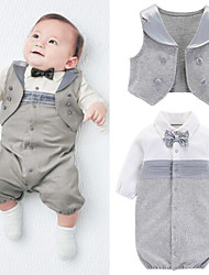 cheap -Baby Boys' Jumpsuits & Rompers Basic Party Wedding Birthday Cotton Light gray Dark Gray Decor Color Block Bow Long Sleeve / Fall / Spring