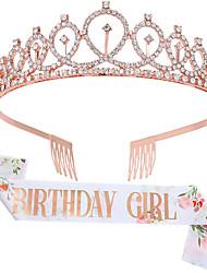 cheap -1 Piece Printed Lettering BIRTHDAY GIRL QUEEN Shoulder Strap Belt Etiquette Belt Birthday Crown Girl