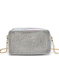 cheap -Women's Bags PU Leather Crossbody Bag Chain Solid Color Rhinestone Party / Evening Date Evening Bag Chain Bag Silver Gold Black
