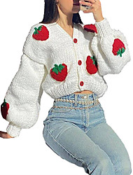 cheap -Women's Cardigan Knitted Print Print Strawberry Fruit Stylish Basic Casual Long Sleeve Loose Sweater Cardigans V Neck Fall Winter Larger goods are welcome White / Holiday