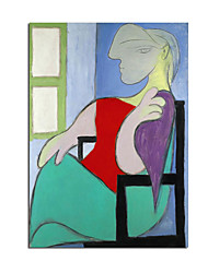 cheap -Oil Painting Handmade Hand Painted Wall Art Modern Abstract Picasso Famous Sitting Woman In Front Of The Window Home Decoration Decor Rolled Canvas No Frame Unstretched