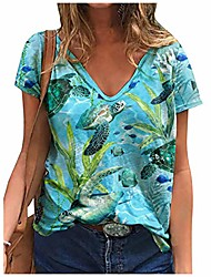 cheap -changeshopping women sea turtle printing t-shirts,summer short sleeve v-neck loose fit casual tops blue