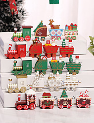 cheap -Christmas Decorations Mini Four-section Train Diy Assembly Wooden Small Ornaments Window Tabletop