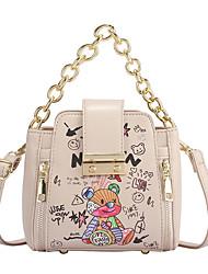 cheap -Women's Bags PU Leather Synthetic Crossbody Bag Chain Daily Outdoor 2021 Handbags Chain Bag Yellow Khaki White Black