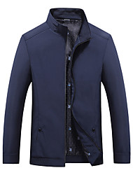 cheap -Men's Jacket Trench Coat Street Daily Going out Fall Spring Regular Coat Zipper Stand Collar Regular Fit Warm Breathable Sporty Casual Jacket Long Sleeve Letter Full Zip Pocket Blue Wine Black