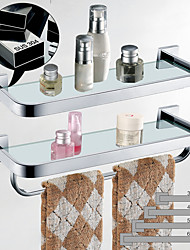 cheap -Bathroom Shelf Adjustable Length / Multilayer / New Design Contemporary / Modern Stainless Steel / Tempered Glass / Metal 1pc - Bathroom Wall Mounted