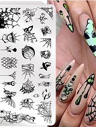 cheap -5 Pcs Halloween Nail Stamping Plates Snowflake Festival Pattern Nail Art Image Plates Nail Art Stencil Nail Template Plate