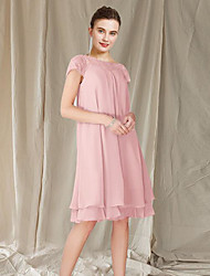 cheap -A-Line Mother of the Bride Dress Elegant Jewel Neck Knee Length Chiffon Lace Short Sleeve with Pleats 2021