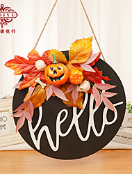 cheap -Halloween Wooden Listing Cartoon Orange Holiday Indoor Pendant Wooden Creative New Thanksgiving Day Doorplate