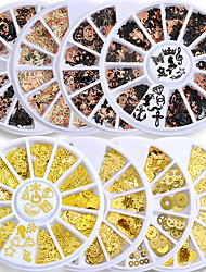 cheap -8 pcs Brone Black Mix Halloween Shape Pumpkin Face Witch Spider Net Black Cat Bat Metallic Nail Art Sequins Decals Gem DIY Wheel