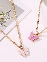 cheap -Pendant Necklace Charm Necklace Women's Geometrical Butterfly Fashion Lovely Wedding Purple Yellow Pink 45 cm Necklace Jewelry 1pc for Christmas Wedding Street Gift Daily Geometric