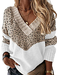 cheap -Women's Pullover Sweater Jumper Patchwork Print Leopard Print Color Block Stylish Basic Casual Daily Holiday Long Sleeve Regular Fit Cardigans V Neck Fall Winter Blushing Pink Gray Khaki