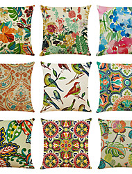 cheap -Floral Double Side Cushion Cover 9PC Soft Decorative Square Throw Pillow Cover Cushion Case Pillowcase for Bedroom Livingroom Superior Quality Machine Washable Indoor Cushion for Sofa Couch Bed Chair