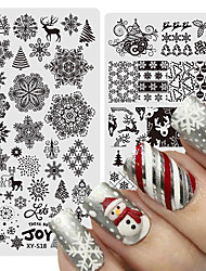cheap -3 pcs Christmas Halloween Nail Stamping Plates Snowflake Deer Skull Spider Gel Polish Steel Plate Winter Manicure