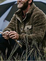 cheap -Men's Jacket Coat Polar Fleece Daily Fall Winter Regular Coat Zipper Stand Collar Regular Fit Windproof Warm Casual Jacket Long Sleeve Camo / Camouflage Pocket Blue Army Green Gray