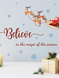 cheap -Santa Claus Fawn Decorative Wall Paste Background Wall Simple Creative Painting Living Room 68*47cm