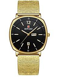 cheap -REWARD Mens Watches Square Dial Business Clock Top Brand Luxury Golden Steel Mesh Strap Quartz Wrist Watch Men Relogio Masculino