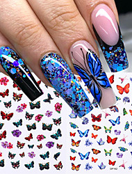 cheap -6 Pcs Holographic Butterflies Nails Art Manicure Stickers Blue Black Decals Spring Theme Flowers Nail Decoration Manicure