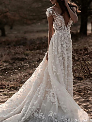 cheap -A-Line Wedding Dresses Jewel Neck Court Train Lace Tulle Short Sleeve Formal Romantic Luxurious with Appliques 2021