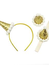 cheap -2 Pcs/set Children's Headdress New Baby Crown Headband Headband Hairpin Set Hair Ball Decoration Hair Accessories