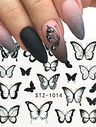 cheap -9pcs/Set Nail Butterfly Stickers Watercolor Decals Blue Flowers Sliders Wraps Manicure Summer Nail Art Decorations