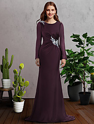 cheap -A-Line Mother of the Bride Dress Elegant Jewel Neck Sweep / Brush Train Chiffon Long Sleeve with Lace Pleats Appliques 2021