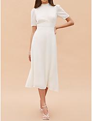 cheap -Sheath / Column Wedding Dresses High Neck Tea Length Chiffon Short Sleeve Simple Little White Dress with Solid Color 2021