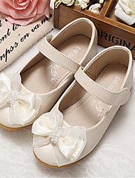 cheap -Girls' Flats Flower Girl Shoes Microfiber Wedding Casual / Daily Dress Shoes Toddler(9m-4ys) Little Kids(4-7ys) Wedding Party Party & Evening Bowknot Pink Ivory Fall Spring
