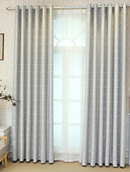 cheap -Window Curtain Window Treatments Grey 2 Panels Room Darkening Faux Linen Grommet Plaid for Living Room Bedroom Thermal Insulated