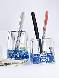 cheap -Creative Astronaut Liquid Quicksand Plastic Acrylic Pen Holder Straight Ruler Stationery Student Office Supplies
