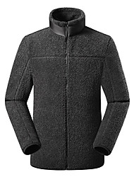 cheap -Men's Jacket Teddy Coat Street Daily Going out Fall Winter Regular Coat Regular Fit Warm Breathable Casual Jacket Long Sleeve Solid Color Full Zip Khaki Dark Grey Black