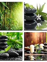 cheap -4 Panels Wall Art Canvas Prints Painting Artwork Picture Tea Water Candle Stone Bamboo Painting Home Decoration Decor Rolled Canvas No Frame Unframed Unstretched