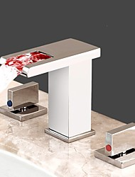 cheap -Bathroom Sink Faucet - LED / Waterfall Chrome Widespread Two Handles Three HolesBath Taps