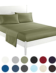 cheap -Bed Sheet Set Super Soft 4 Pieces Bedding Sheet Smooth Microfiber Sheets Breathable Fade Resistant Deep Pocket