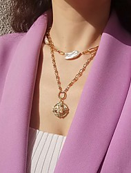 cheap -Pendant Necklace Women's Geometrical Gold Plated Vintage Wedding Gold 21-50 cm Necklace Jewelry 1pc for Wedding Round