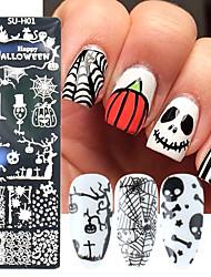 cheap -6 Pcs Halloween Nail Stamping Plates Nail Stamp Nail Art Image Stencil Nail Stamp Tools Need Stamping Varnish Nail Stamper