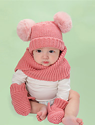 cheap -3 sets Toddler Unisex Active / Sweet Daily Wear / Festival Solid Colored Knitted Acrylic Scarf, Hat & Glove Sets Blushing Pink / Gray / Khaki