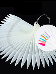 cheap -1 Set Sharp False Nail Tips Natural Clear White Fan Finger Full Card Practice Display Acrylic UV Gel Polish Manicure Tools