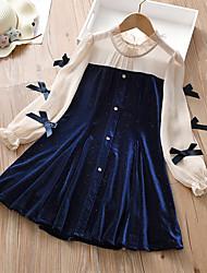 cheap -Kids Little Girls' Dress Patchwork A Line Dress Birthday Daily Bow Navy Blue Knee-length Long Sleeve Princess Sweet Dresses Fall 4-13 Years