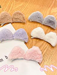 cheap -6 Pairs Candy-colored Cat Ears Plush Hairpin Three-dimensional Decoration Top Clip Animal Ear Pair Clip Photo Cos Props Korean Hair Accessories