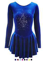 cheap -Figure Skating Dress Girls' Ice Skating Light Yellow As Picture Dark Red Velvet Training Competition Skating Wear Handmade Solid Colored Long Sleeve Ice Skating Figure Skating / Summer / Winter