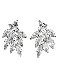 cheap -Women's AAA Cubic Zirconia Drop Earrings Monogram Flower Artistic Dangling Natural Earrings Jewelry Silver / Gold For Wedding Engagement Prom 2pcs