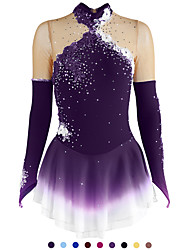 cheap -Figure Skating Dress Women's Girls' Ice Skating Dress Violet Yellow Dark Purple Flower Halo Dyeing Mesh Spandex Practice Competition Skating Wear Handmade Floral Fashion Long Sleeve Ice Skating