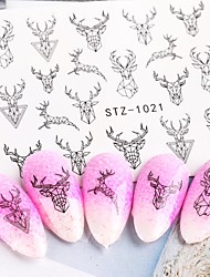 cheap -4 pcs Abstract Lady Face Nail Decals Water Black Leaf Sliders Paper Nail Art Decor Gel Polish Sticker Manicure Foils