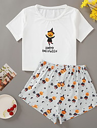 cheap -Women's Pajamas Sets Home Halloween Daily Elastic Waist Cartoon Letter Polyster Funny Soft T shirt Shorts Spring Summer Short Sleeve Short Pant Not Specified
