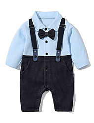 cheap -Baby Boys' Jumpsuits Active Basic Outdoor Cotton Blue Line Print Color Block Patchwork Long Sleeve / Fall / Spring