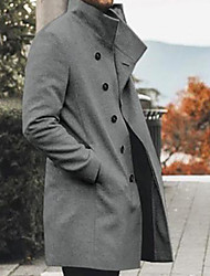 cheap -Men's Trench Coat Overcoat Daily Outdoor Fall Winter Long Coat Single Breasted Notch lapel collar Slim Warm Casual Streetwear Jacket Long Sleeve Solid Color Quilted Dark Grey Light Grey Black