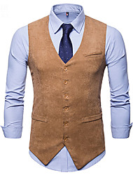 cheap -Men's Vest Business Daily Fall Winter Regular Coat Single Breasted One-button V Neck Regular Fit Thermal Warm Windproof Warm Business Streetwear Jacket Sleeveless Plain Patchwork Khaki Black Navy Blue
